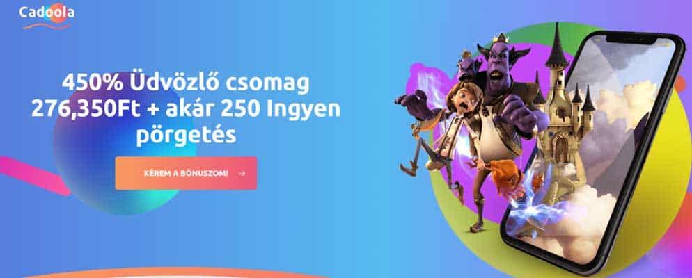 450% Üdvözlő bónusz csomag 276,350Ft + akár 250 Ingyen pörgetés