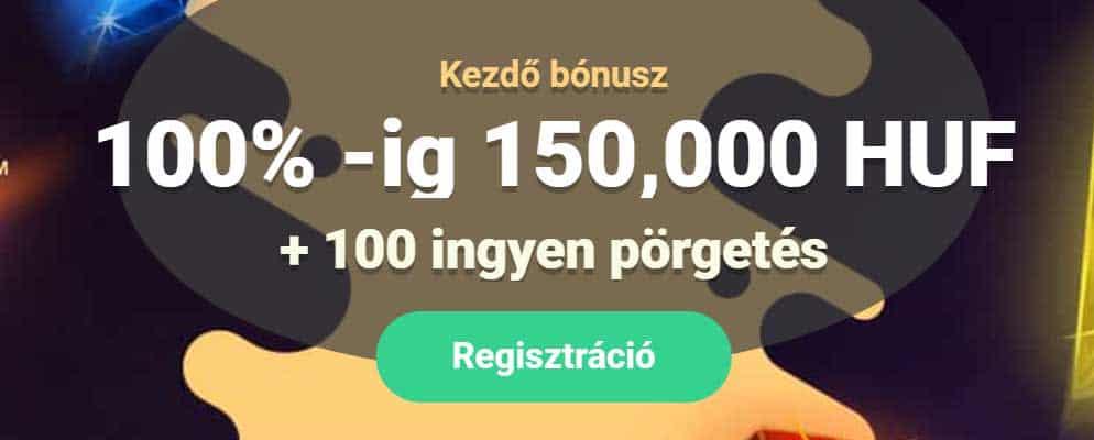 150 000 forint üdvözlő bónusz + 100 ingyen pörgetés